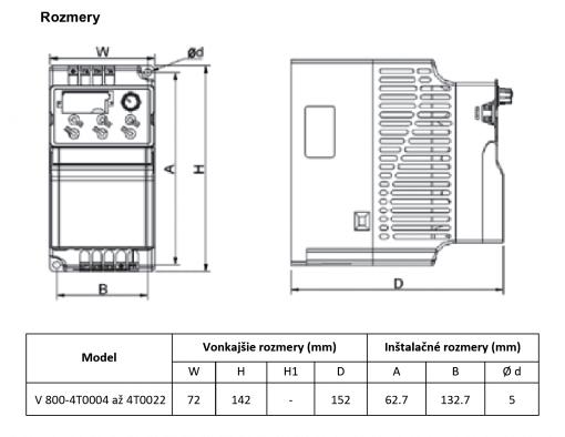 frekvenčný menič v800-4T0022