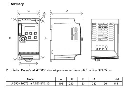 frekvenčný menič a550-4t0075