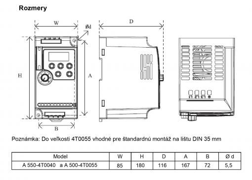 frekvenčný menič A550 400V 3kw rozmery